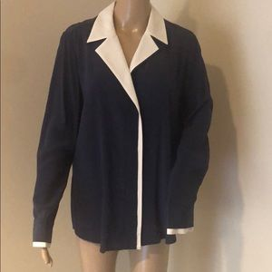 Frame Navy Silk Blouse with Trim Size L Brand New